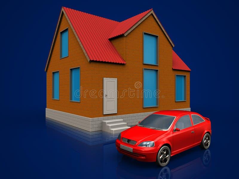 автомобиль 3d над синим иллюстрация вектора