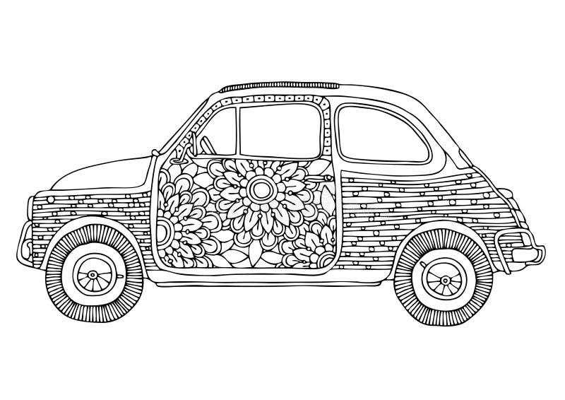 Автомобиль Hippie Малый милый автомобиль с цветками бесплатная иллюстрация