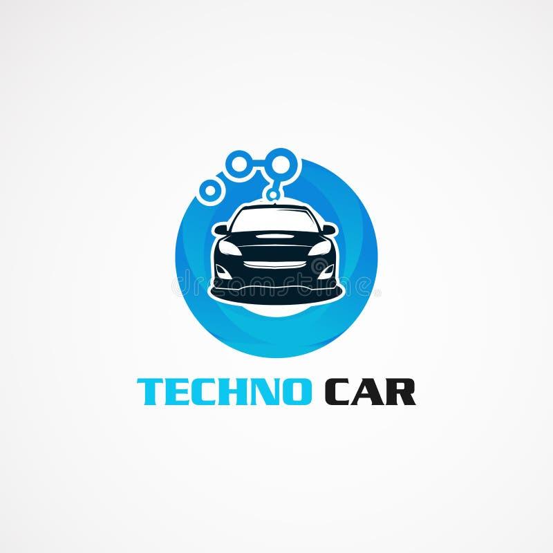 Автомобиль Techno с голубыми вектором, значком, элементом, и шаблоном логотипа круга для компании иллюстрация вектора