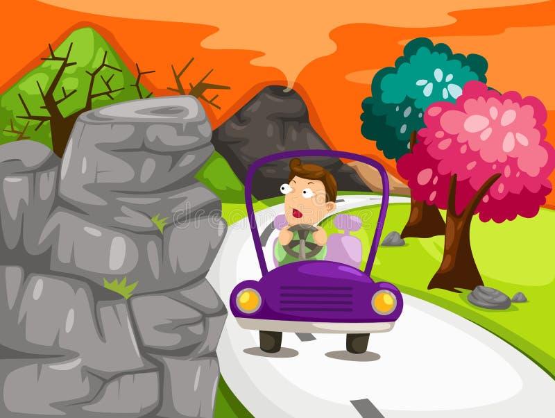 автомобиля управлять человек ландшафта иллюстрация вектора