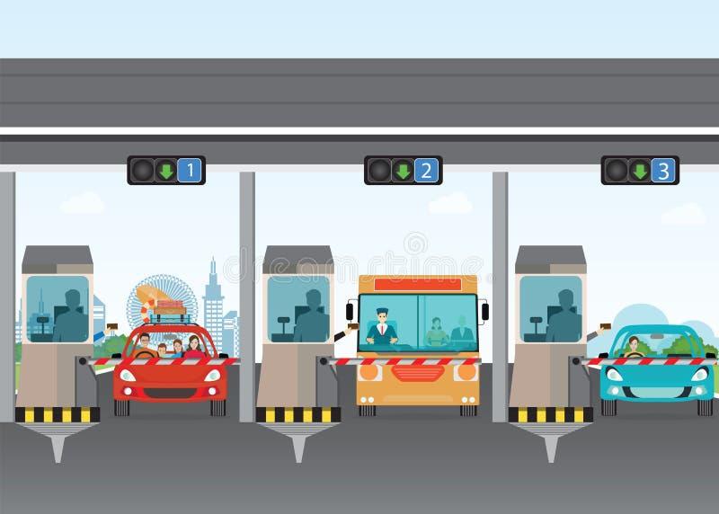 Автомобили водителя передавая до конца к дорожному сбору оплаты на шиканье пошлины шоссе иллюстрация вектора