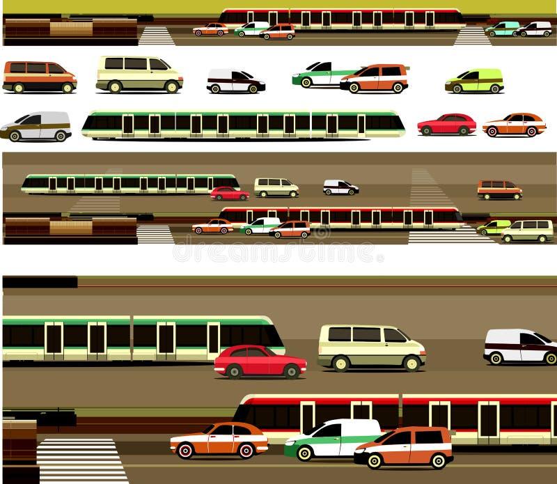 Автомобили и дороги конструктора установленные бесплатная иллюстрация