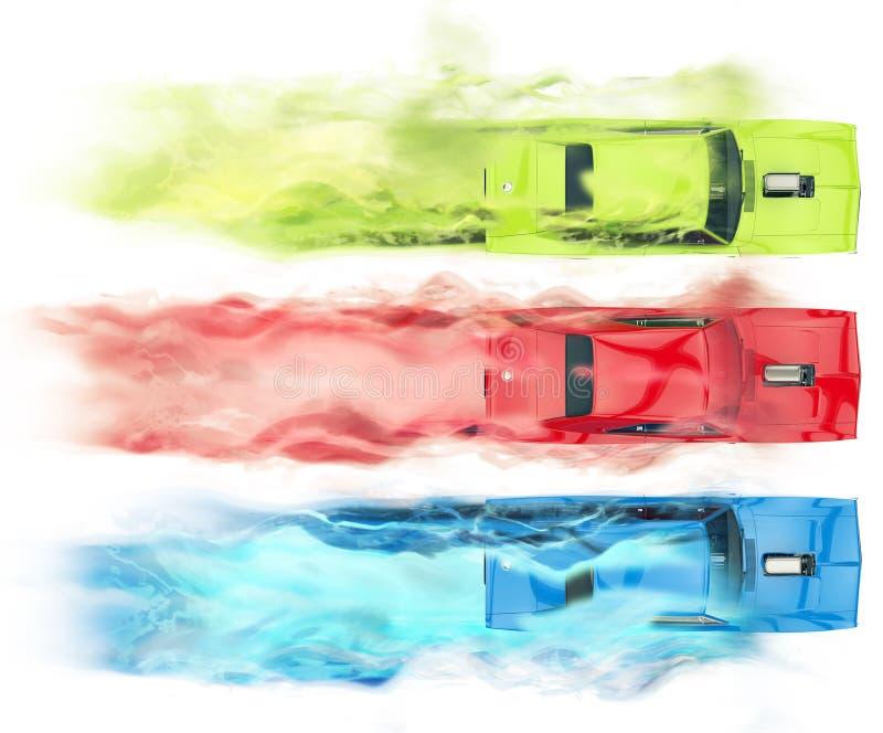 Автомобили мышцы RGB - визуальный эффект дыма иллюстрация штока
