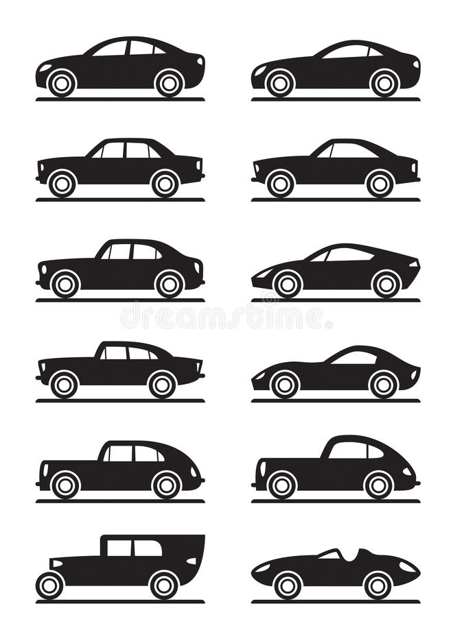Автомобили самомоднейших и сбора винограда иллюстрация штока