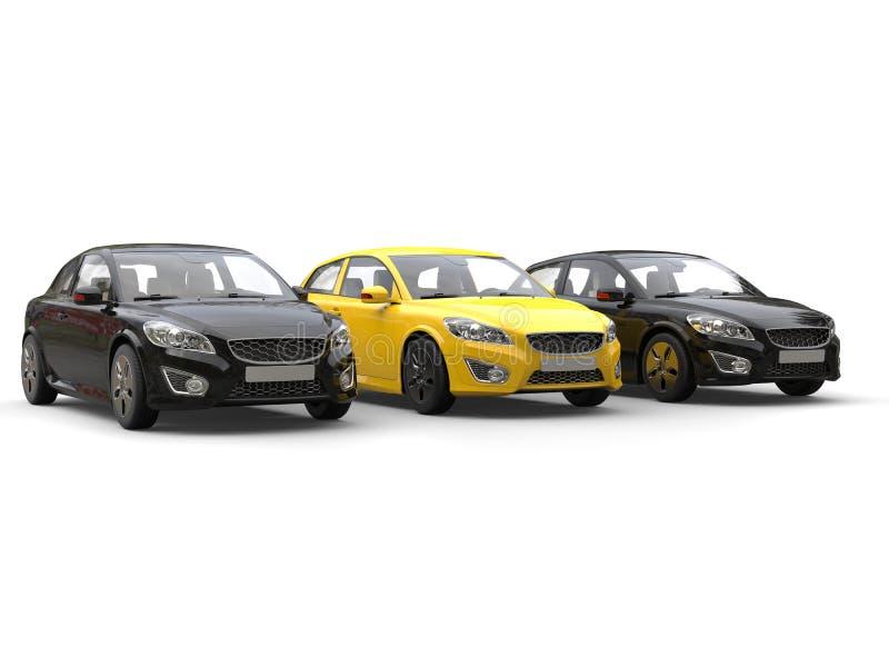 Автомобили стильного eco дружелюбные современные - чернота и желтый цвет бесплатная иллюстрация