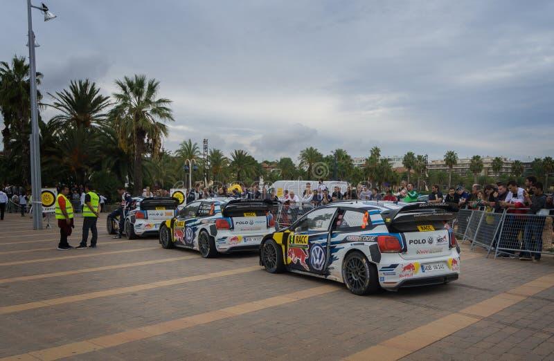 Автомобили WRC команды Volkswagen Polo r в Salou, Испании стоковое изображение