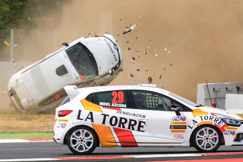 Автомобильная катастрофа на цепи de Catalunya стоковые изображения