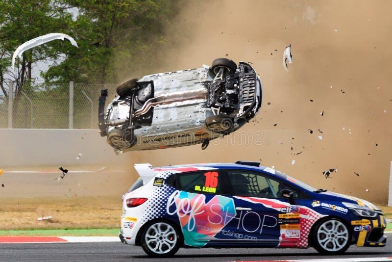 Автомобильная катастрофа на цепи de Catalunya стоковое фото rf