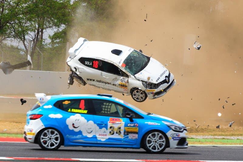 Автомобильная катастрофа на цепи de Catalunya стоковое изображение