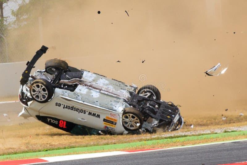 Автомобильная катастрофа на цепи de Catalunya стоковое фото
