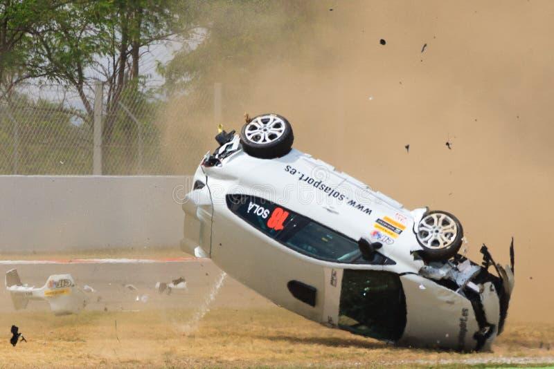 Автомобильная катастрофа на цепи de Catalunya стоковая фотография rf