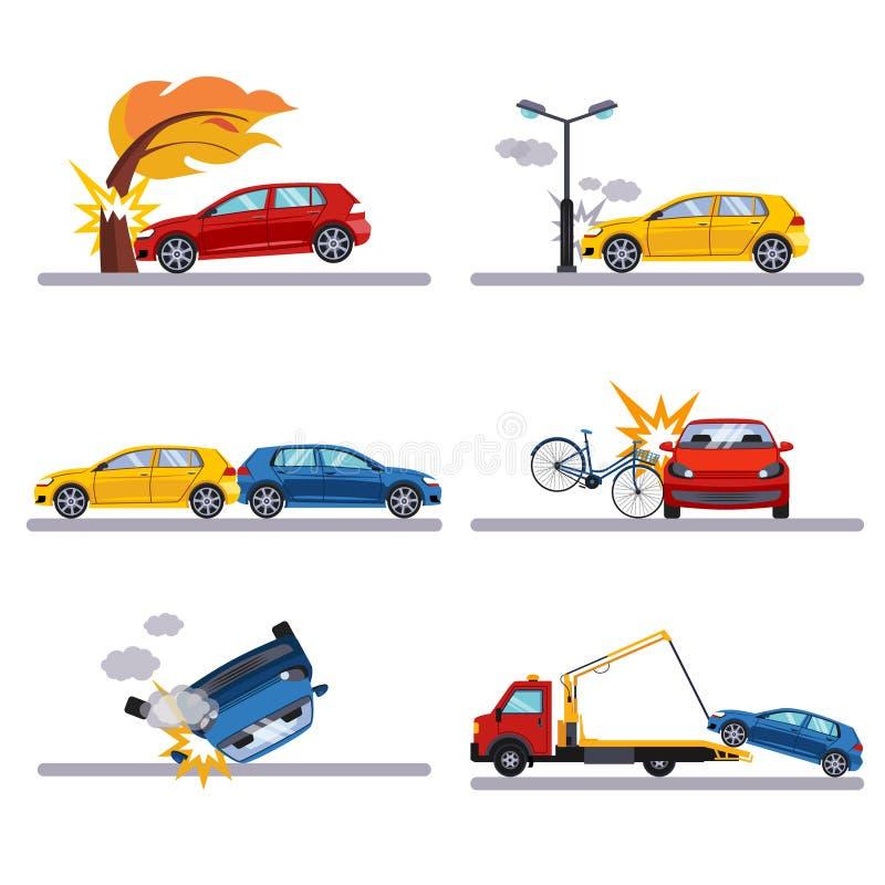 Автомобильные катастрофы установленные на белизну иллюстрация вектора