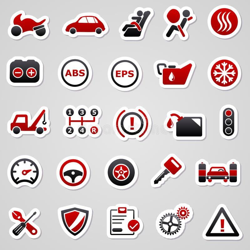Автомобильные красные стикеры иллюстрация вектора