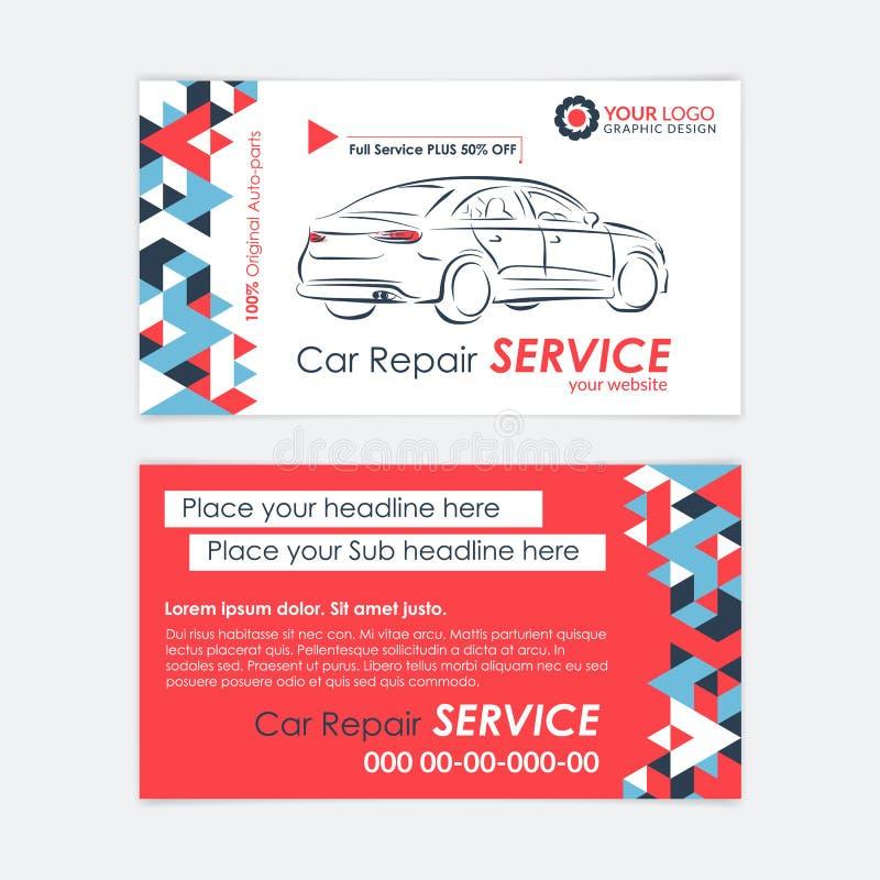 Автомобильный шаблон визитной карточки предприятия сферы обслуживания Диагностики автомобиля и ремонт перехода иллюстрация штока