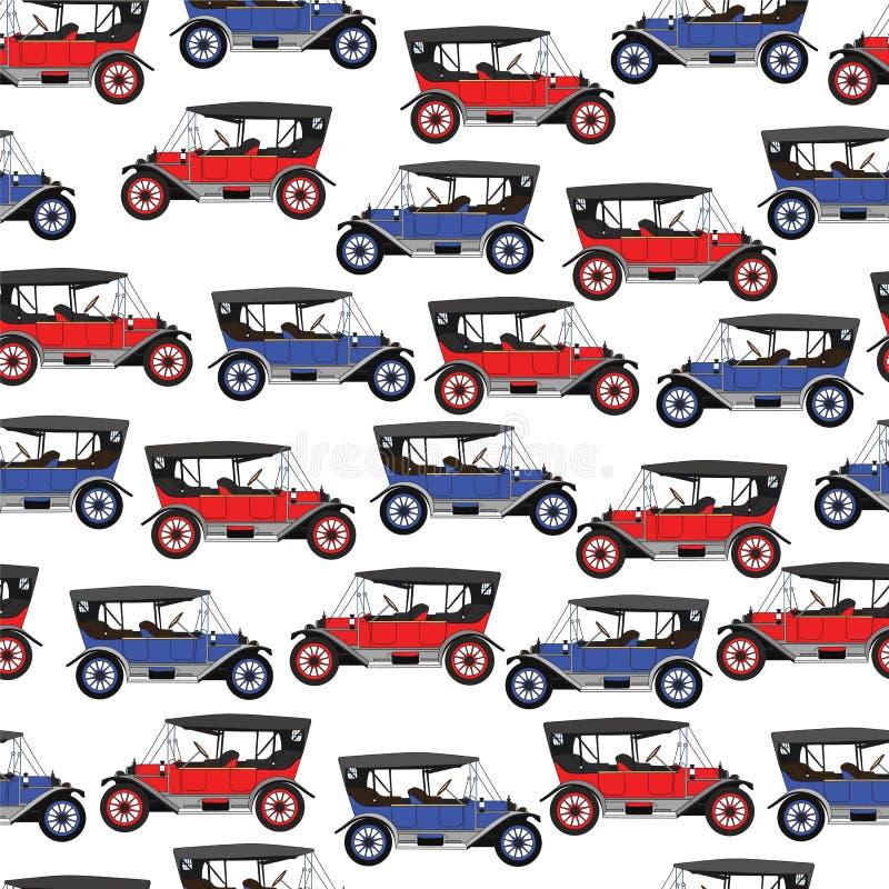 Автомобиль голубого и красного шаржа предпосылки ретро иллюстрация штока