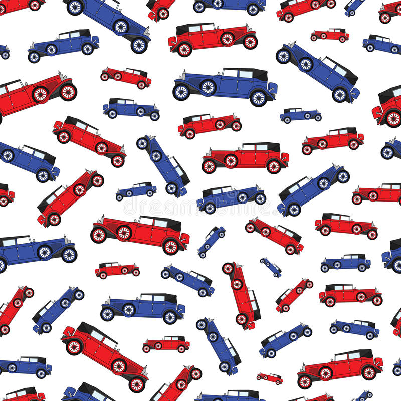 Автомобиль голубого и красного шаржа предпосылки ретро бесплатная иллюстрация