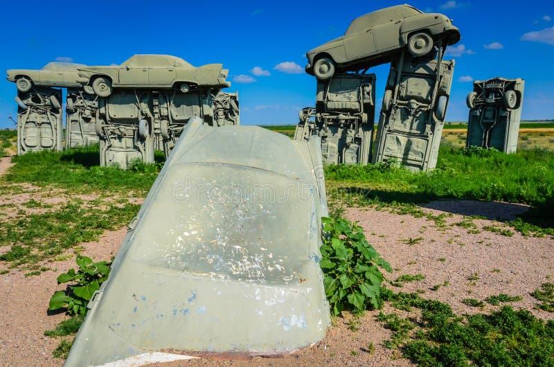 Автомобиль глубоко в грязи - Carhenge - союзничество, NE стоковые изображения