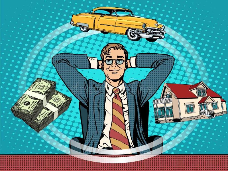 Автомобиль денег дома мечты человека иллюстрация штока