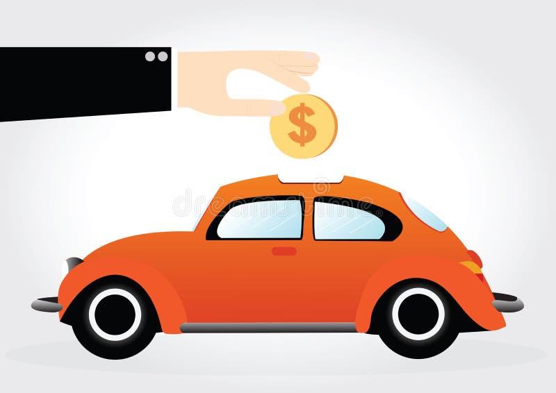 Автомобиль денег сбережений иллюстрация штока