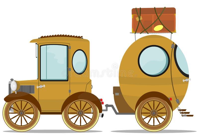 Автомобиль и караван бесплатная иллюстрация