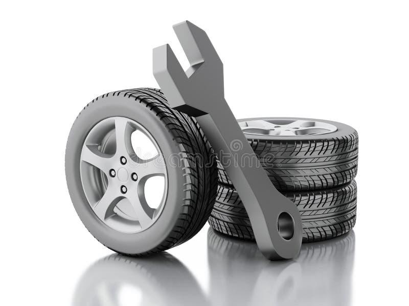 автомобиль и ключ колеса 3d иллюстрация вектора
