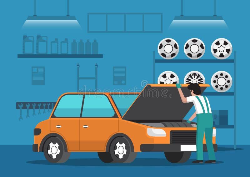 Автомобиль отладки механика автомобиля в гараже ремонта автомобилей бесплатная иллюстрация