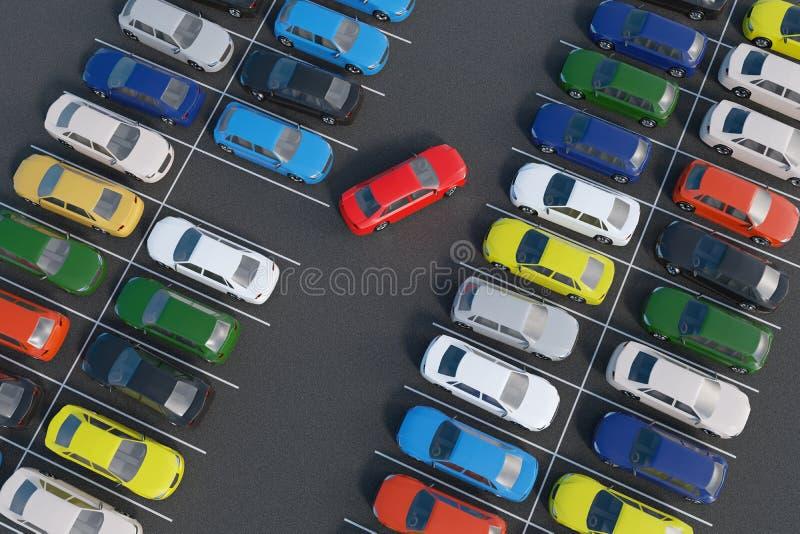 Автомобиль паркует полностью место для стоянки представленная иллюстрация 3d взгляд сверху бесплатная иллюстрация