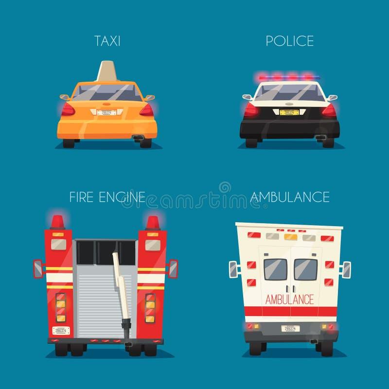 Автомобиль полиции, такси, машины скорой помощи и пожарная машина иллюстрация мальчика неудовлетворенная шаржем меньший вектор иллюстрация штока