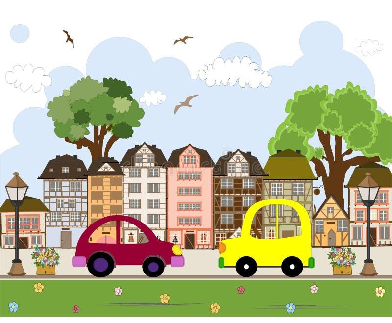 Download Автомобиль проходя мимо в абстрактный город Иллюстрация вектора - иллюстрации насчитывающей иллюстрация, небо: 41650756