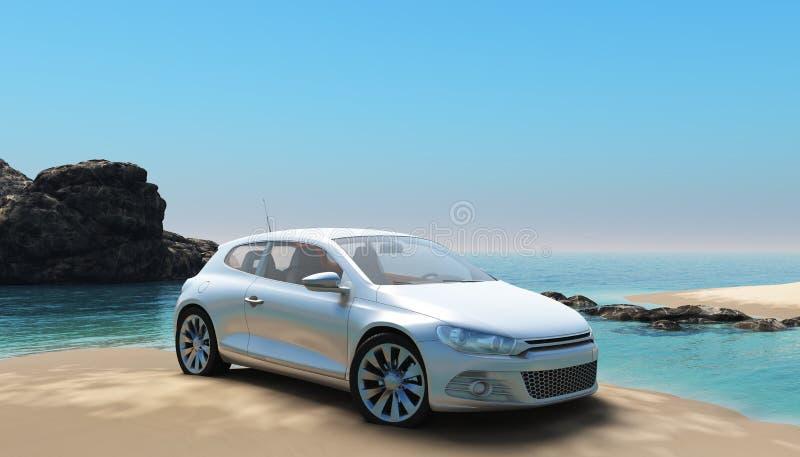 Автомобиль 2 пляжа иллюстрация вектора