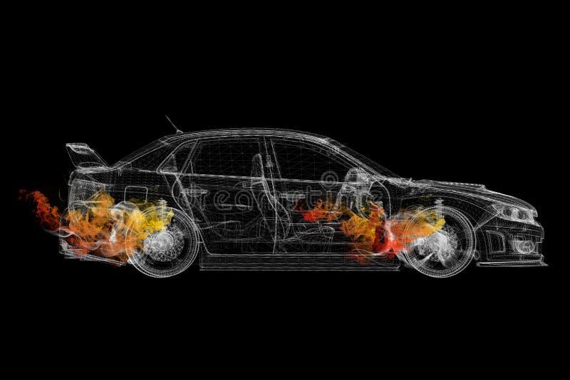 Автомобиль рамки провода в покрашенном дыме иллюстрация вектора