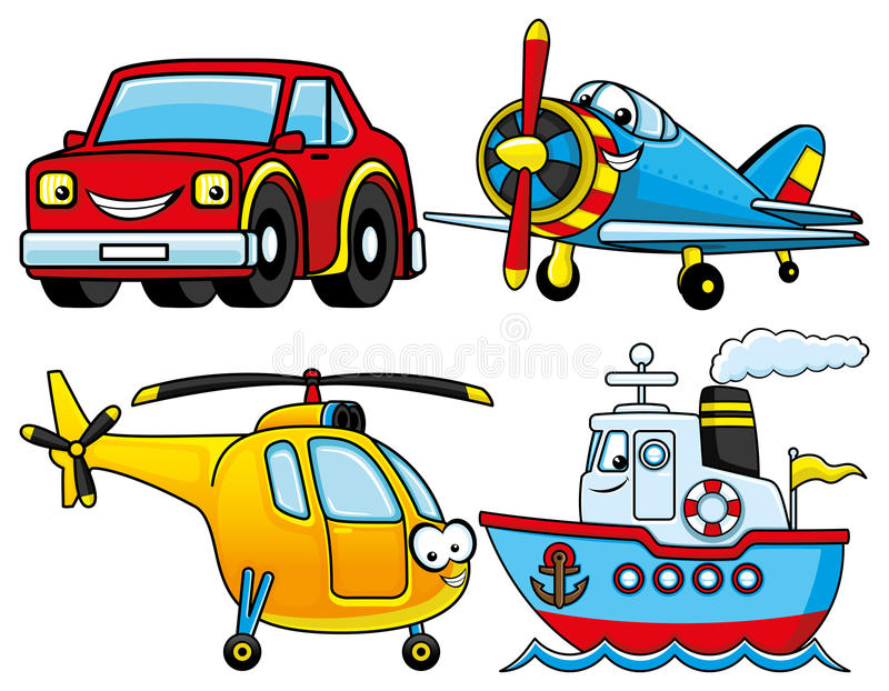 Автомобиль, самолет, корабль и вертолет бесплатная иллюстрация