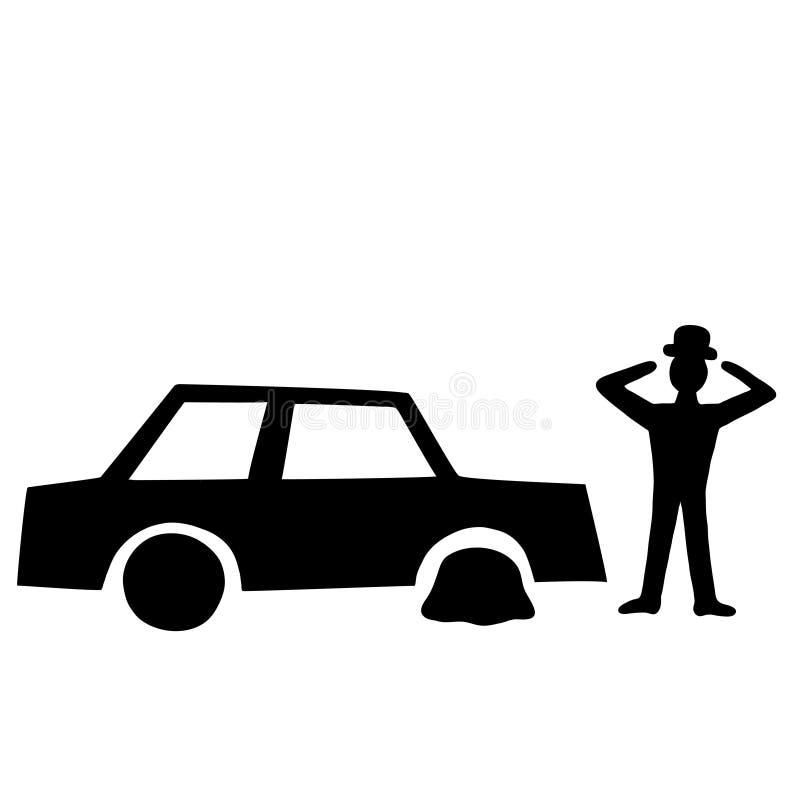 Автомобиль с выкачанной покрышкой бесплатная иллюстрация