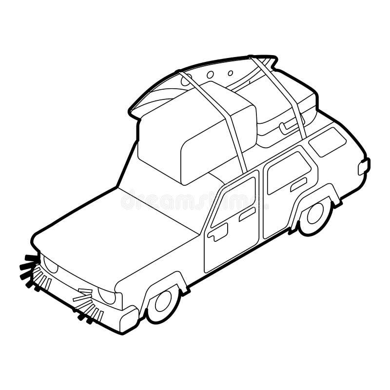Автомобиль с стилем 3d значка багажа и коробок равновеликим иллюстрация штока