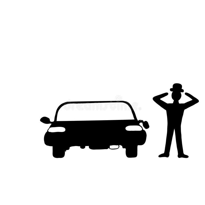 Автомобиль с сломленным зеркалом иллюстрация вектора