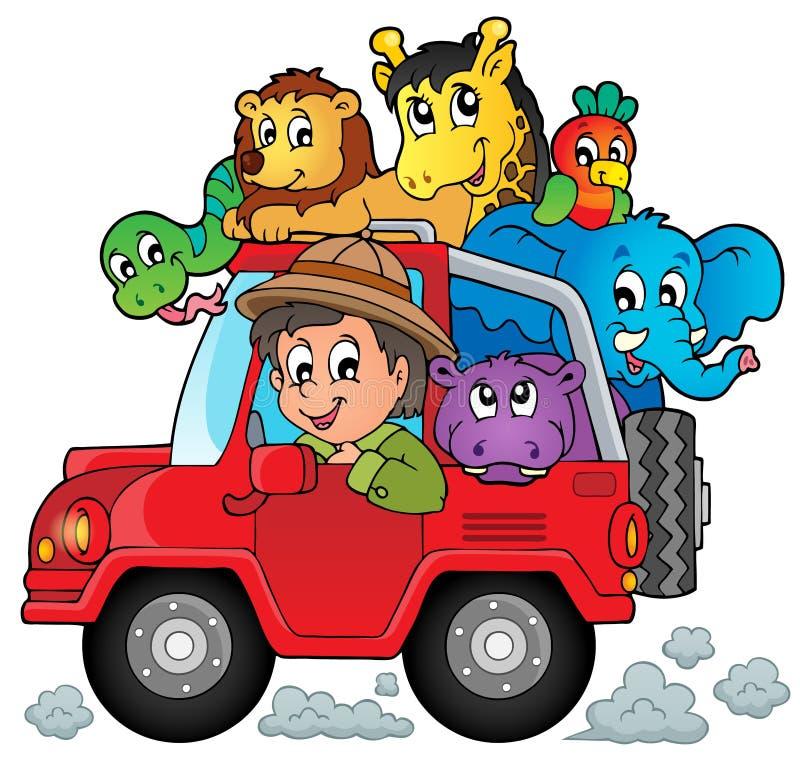Автомобиль с темой 2 путешественника иллюстрация вектора