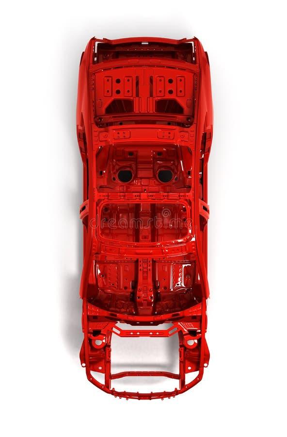 Автомобиль тела красного цвета задний без колеса на белом illustratio 3d иллюстрация штока