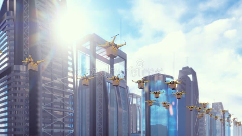 Автономная доставка пакетов флотом беспилотных трутней летая в современную метрополию на солнечный день перевод 3d иллюстрация вектора