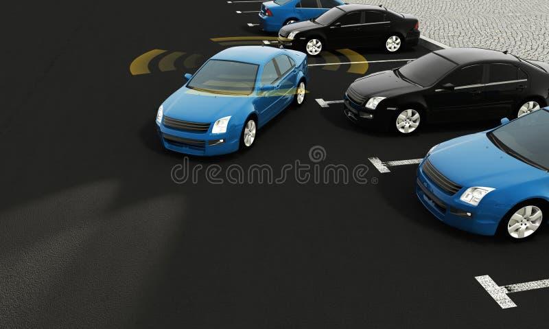 Автономные автомобили на дороге с видимым соединением иллюстрация вектора