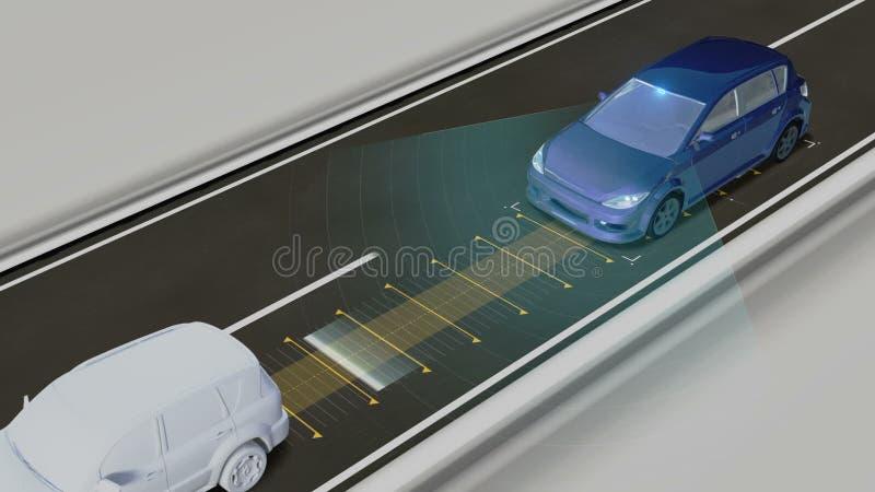 Автономный корабль, держит расстояние автомобиля, автоматическую управляя технологию Беспилотный автомобиль, IOT соединяет автомо иллюстрация штока