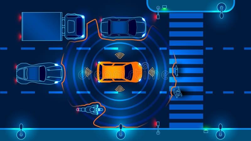 Автономный умный автомобиль иллюстрация вектора