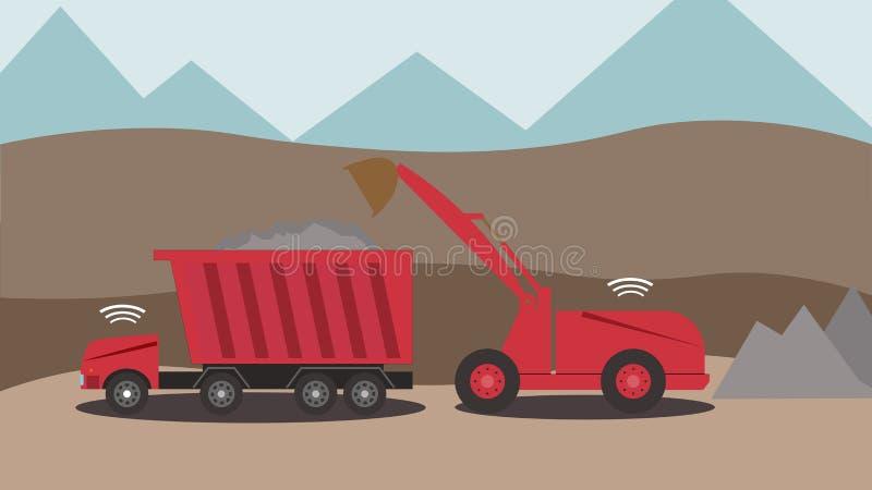 Автономный экскаватор и тележка работая в каменном карьере иллюстрация штока