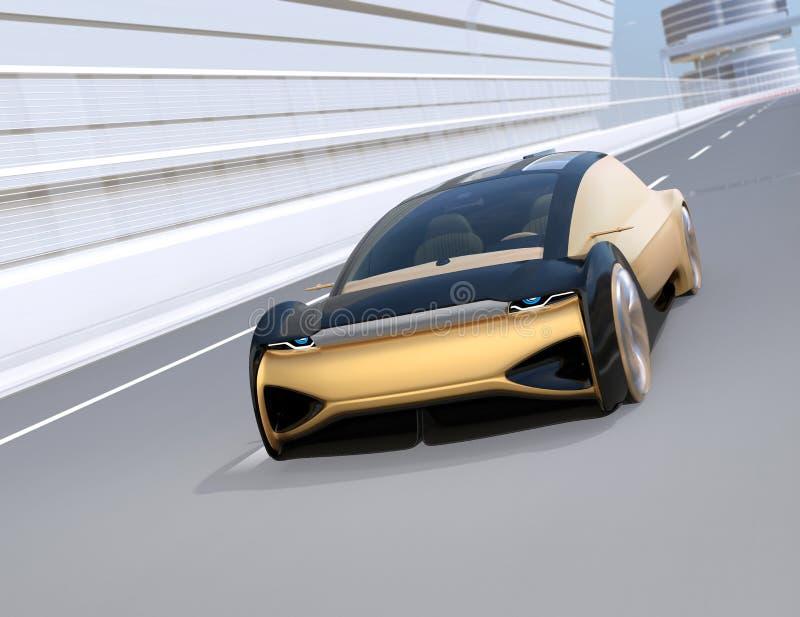 Автономный электрический автомобиль двигая быстро на шоссе иллюстрация штока