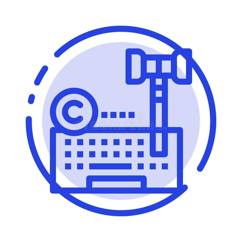 Авторское право, цифров, интернет, закон, линия значок голубой пунктирной линии юриста иллюстрация штока