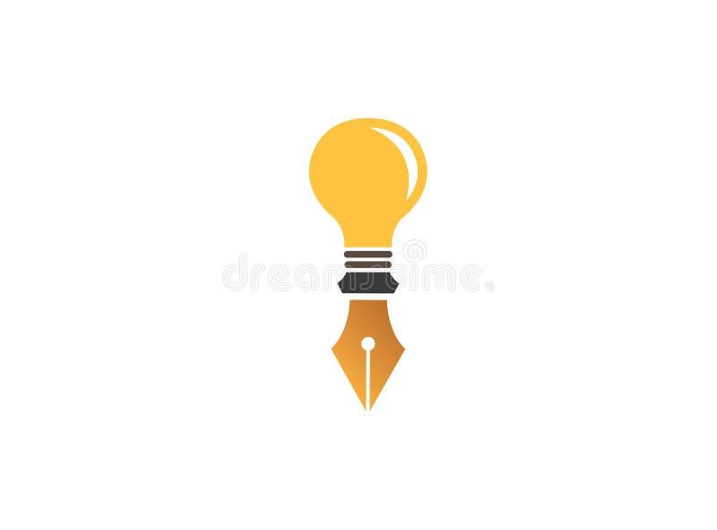Авторучка в электрической лампочке для значка лампы вектора дизайна логотипа рисует иллюстрацию бесплатная иллюстрация