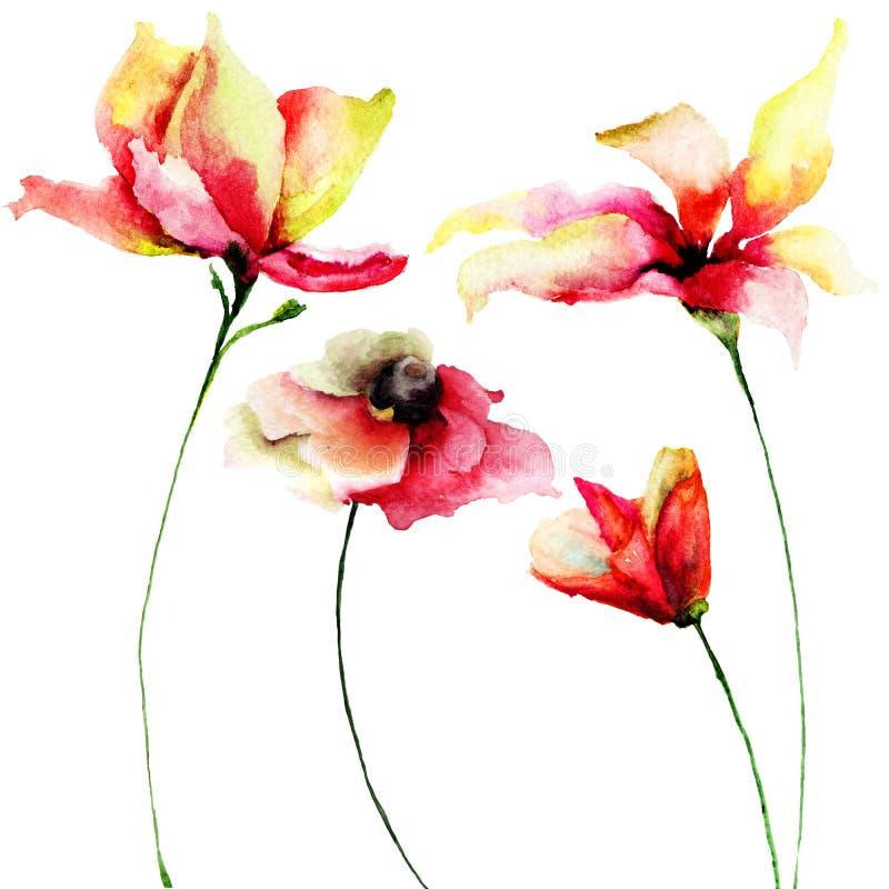 автор цветет акварель изображения картины I установленная бесплатная иллюстрация