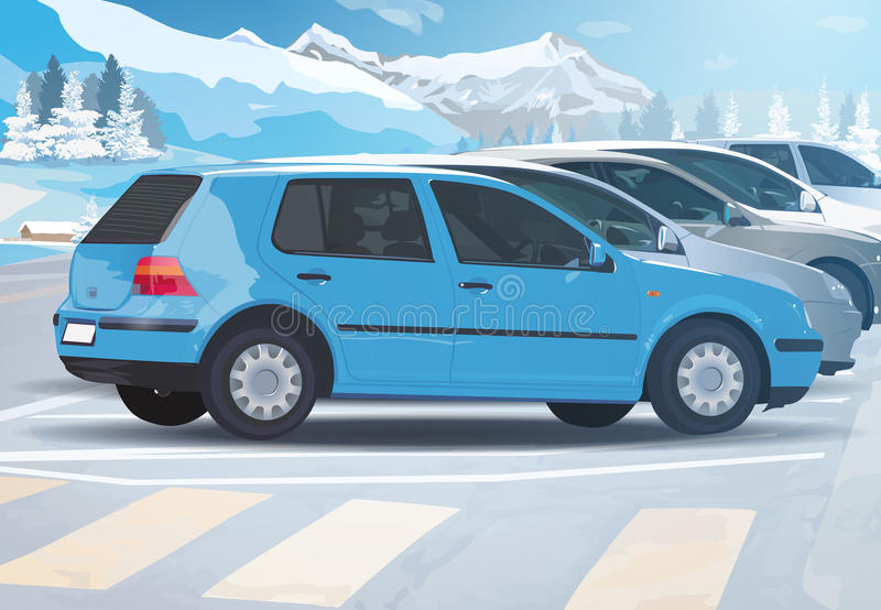 Автостоянка автомобиля зимы иллюстрация штока