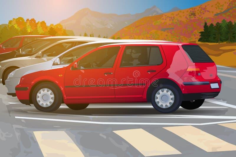 Автостоянка автомобиля осени иллюстрация вектора