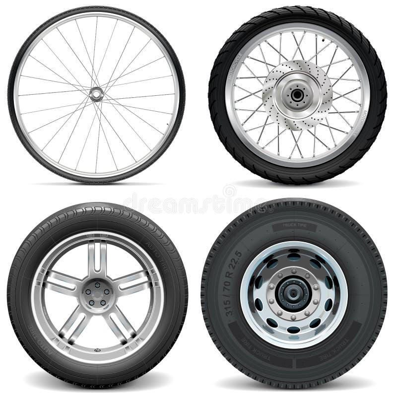 Автошины вектора для автомобиля и тележки мотоцикла велосипеда иллюстрация вектора