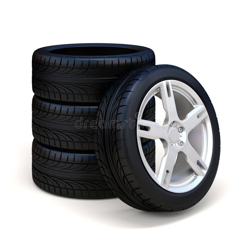 автошины 3d и колесо сплава иллюстрация штока